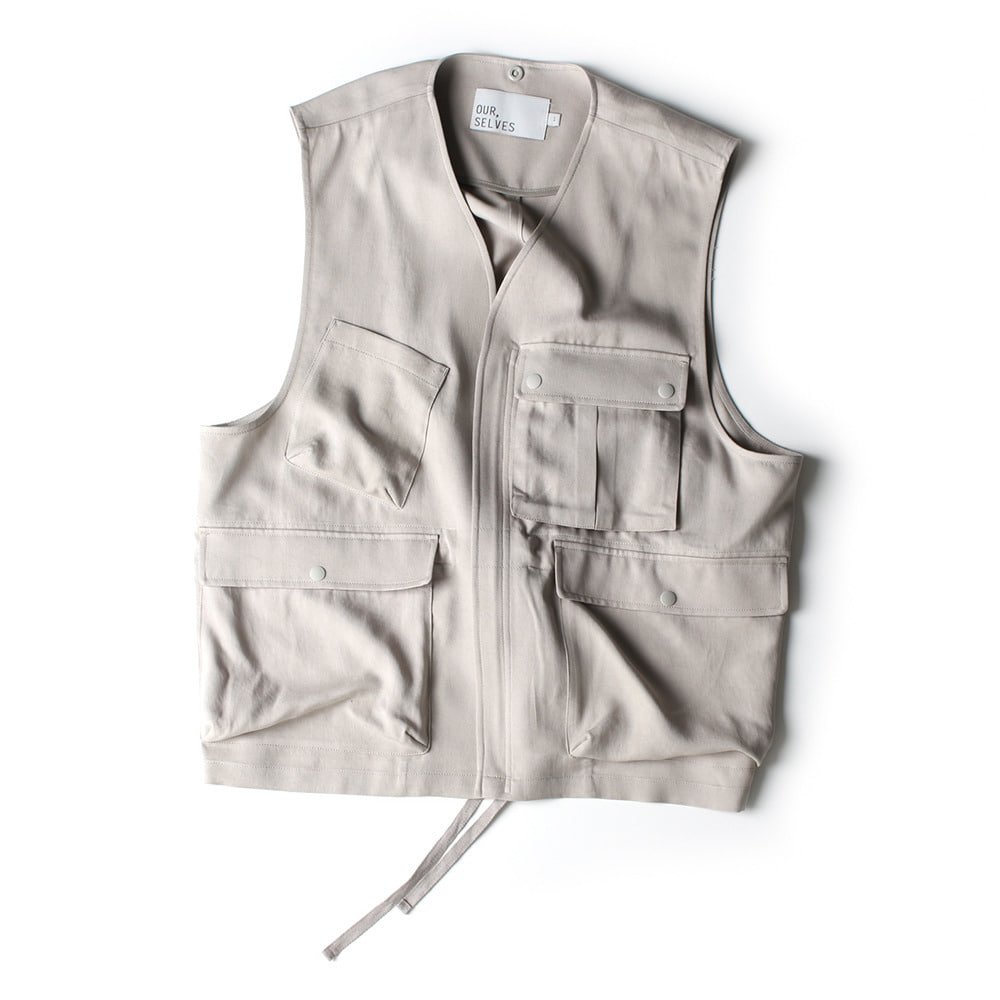 [Ourselves]  Tencel M-70 Field Vest White Daisy   30% Season Off