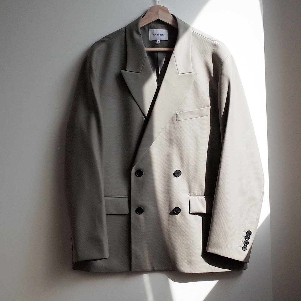 [Art if acts]  Wool Double Breasted Jacket Ash Khaki