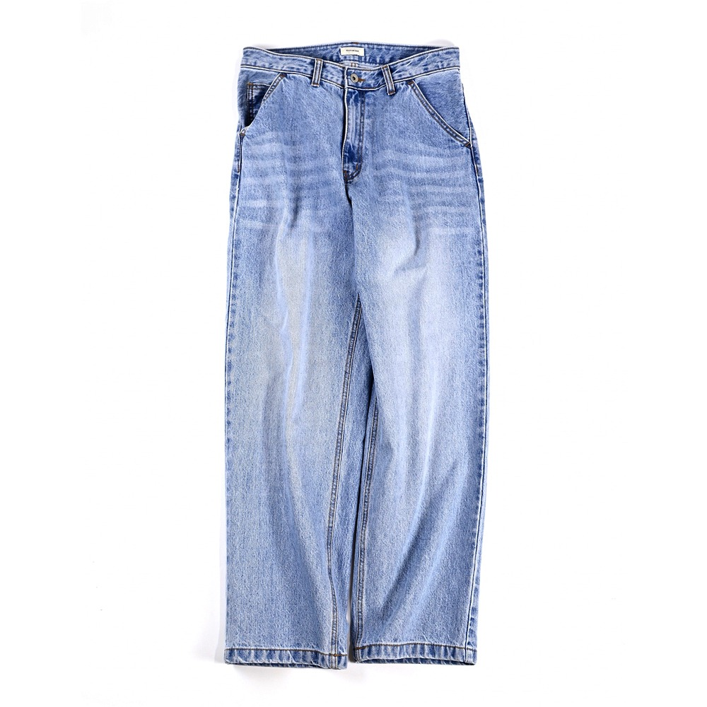 [Slick And Easy]  Dobby Pants Washed Indigo 800D