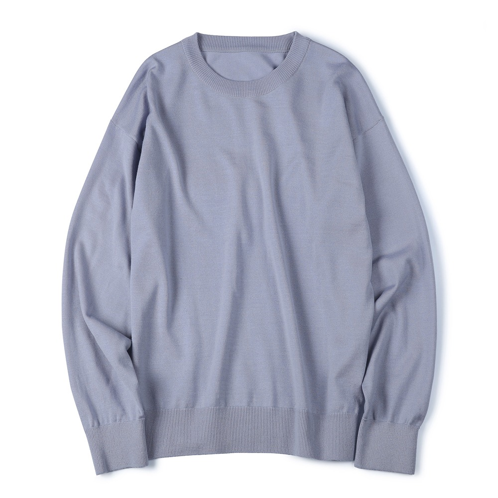 [Shirter]  Washable Pure Wool Crew Neck Knit Lavender