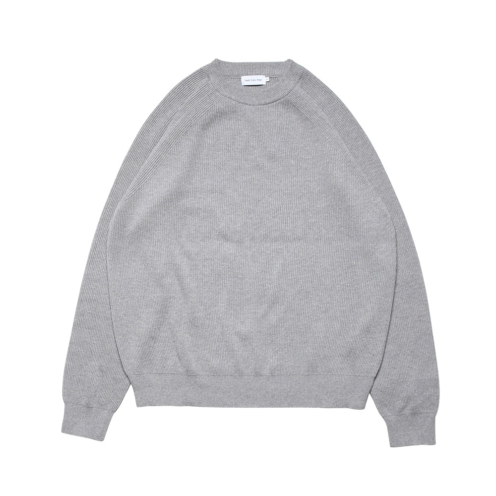 [Steady Every Wear]  Raglan Cotton Rib Knit Smoke Grey