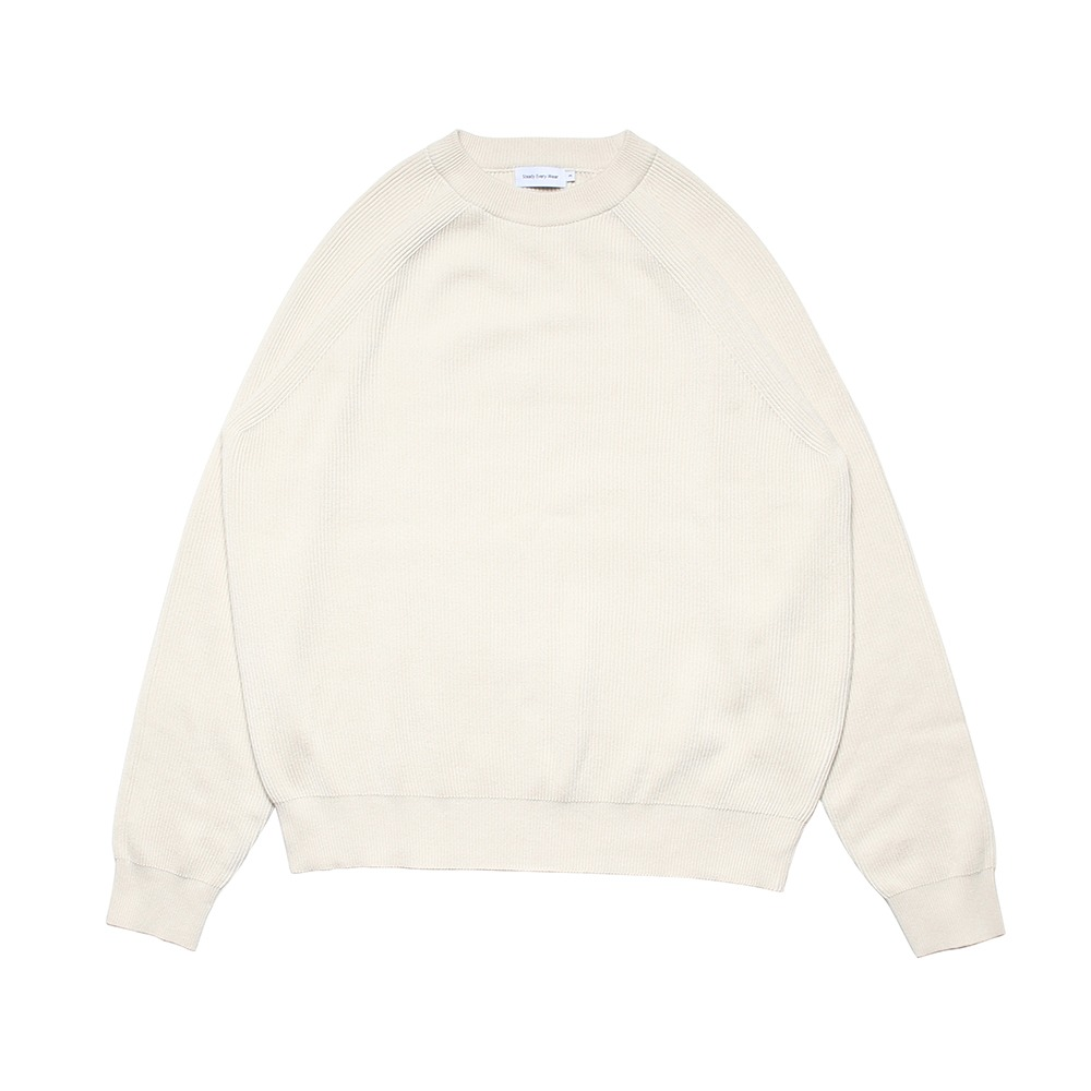 [Steady Every Wear]  Raglan Cotton Rib Knit Cream