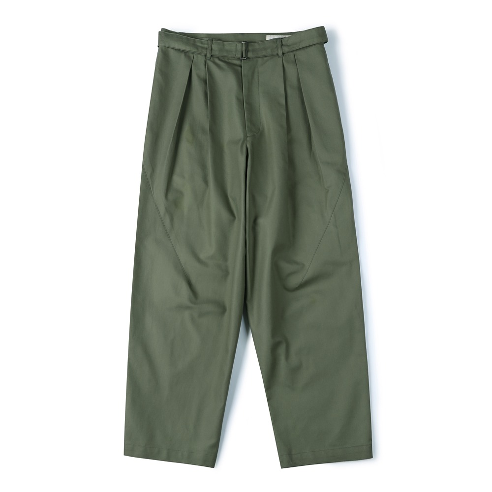 [Shirter]  Belted Pleats Jar Pants Khaki