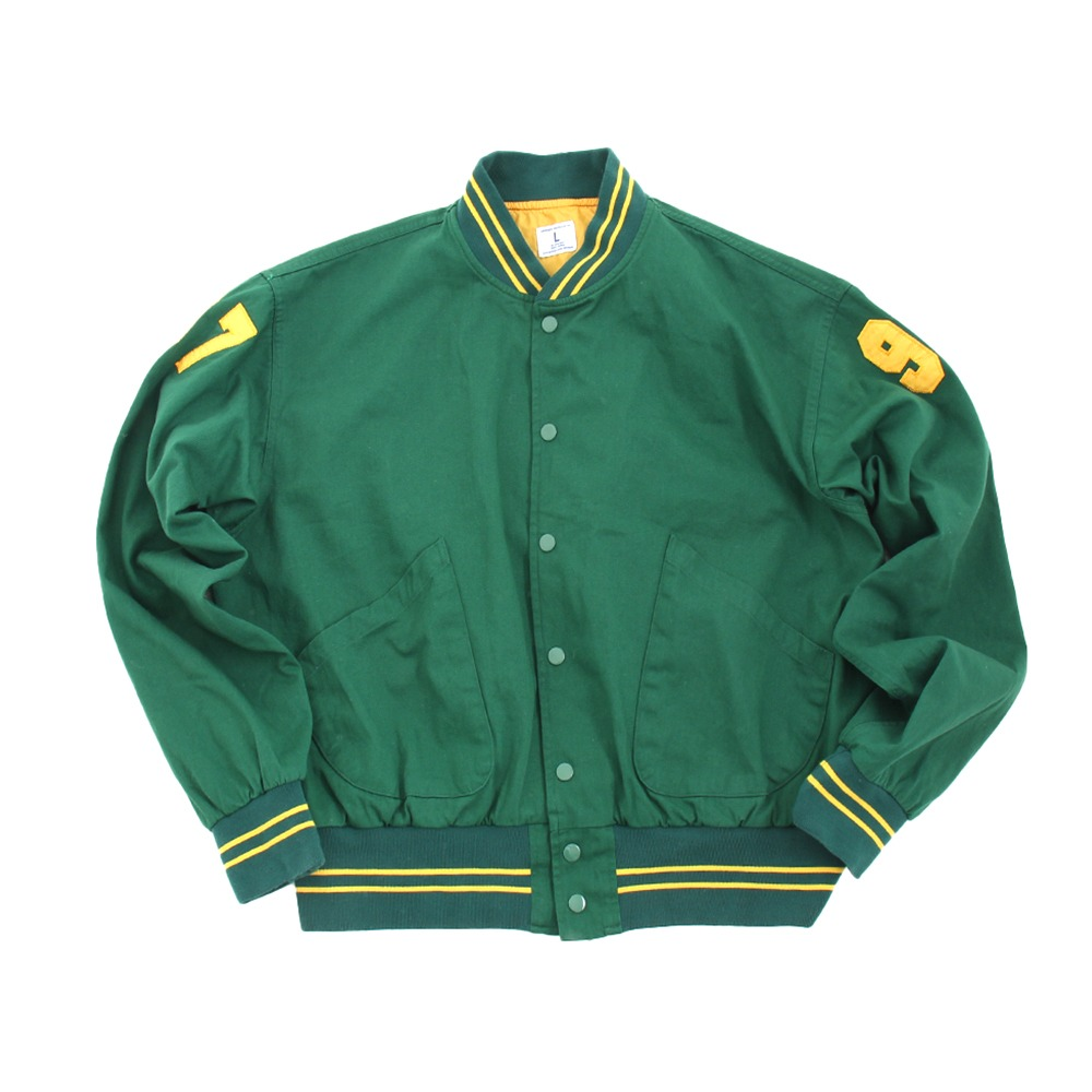 [Long Vacation]  Master Deep Green Varsity Jacket