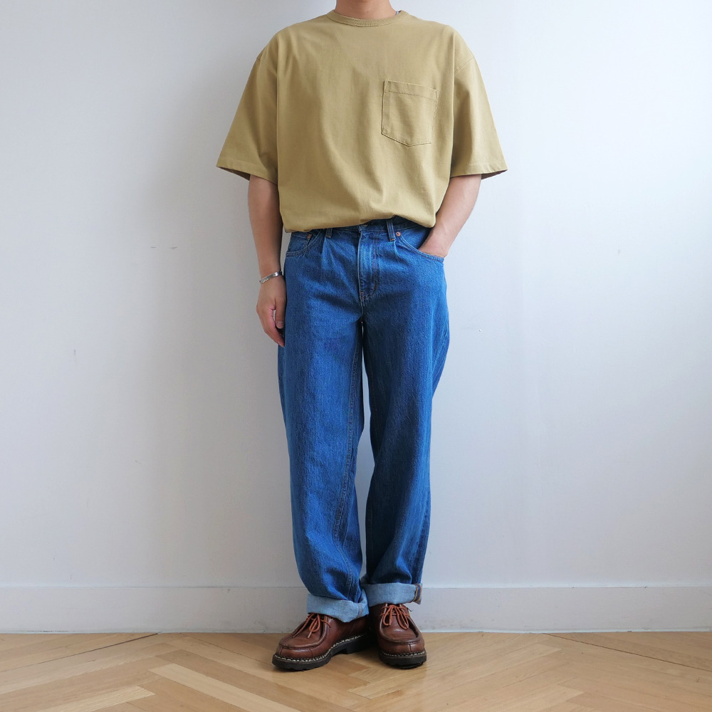 [Fall Break]  Pocket T-Shirts Mustard   [Exclusive Color]