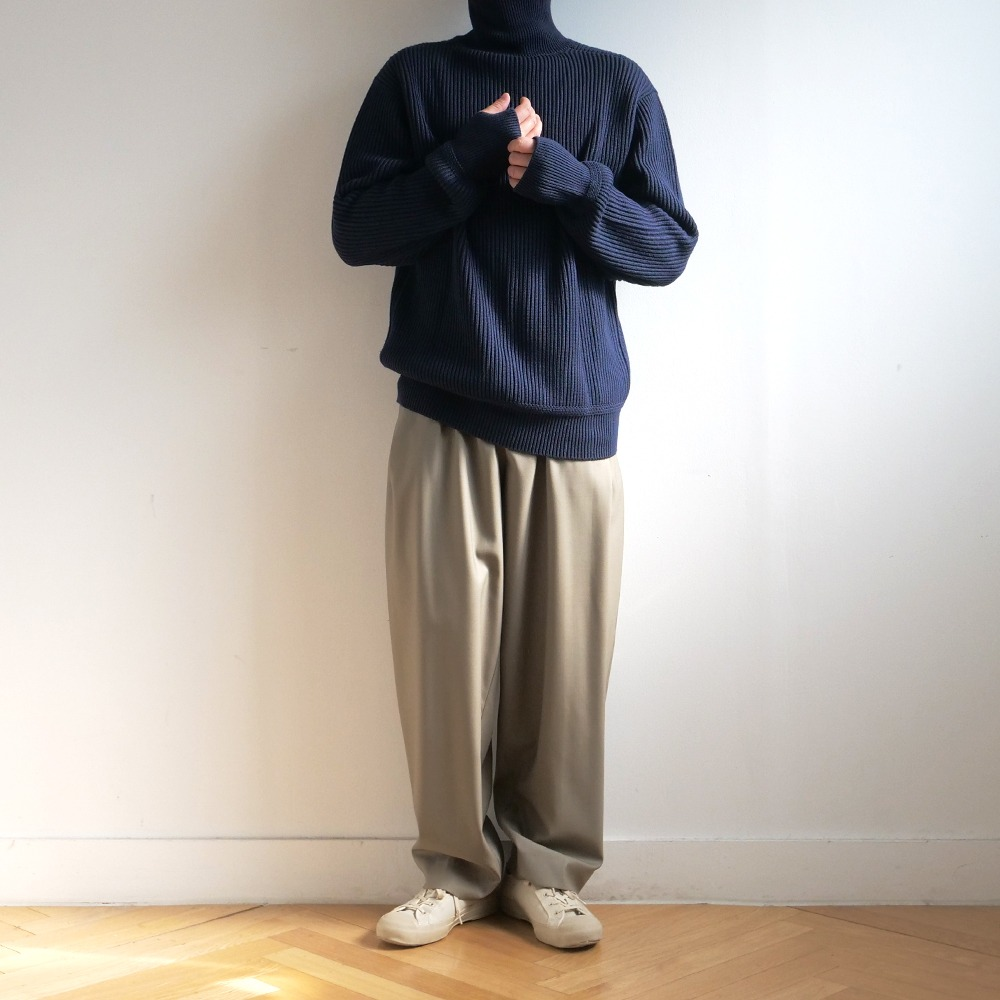 [Steady Every Wear]  Heavy Wool Turtle Neck Knit Navy