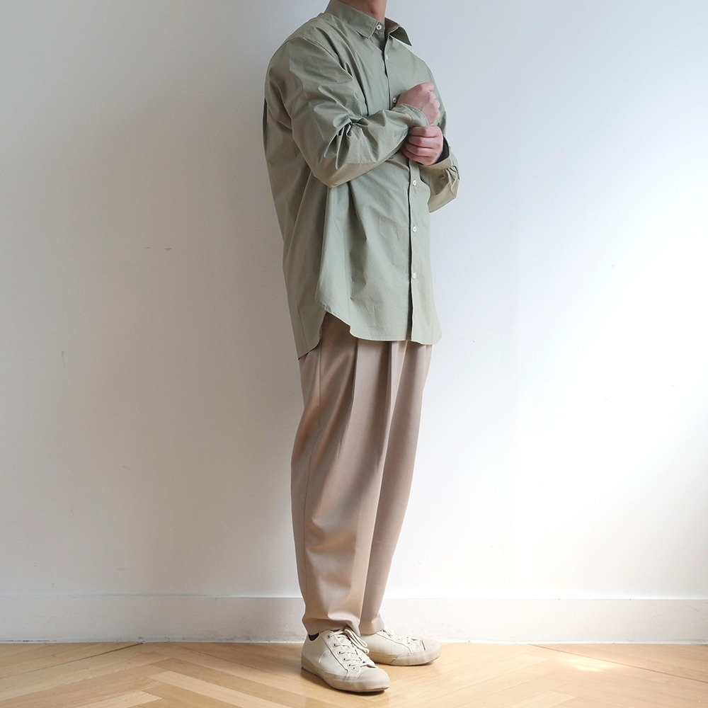 [Bearded Kid]  Banding Silhouette Pants Beige